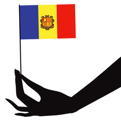 Andorra flag in his hand