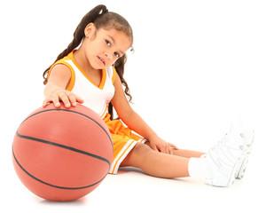 Beautiful Hispanic Preschool Basketball Player with Clipping pat