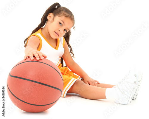 Beautiful Hispanic Preschool Basketball Player with Clipping pat