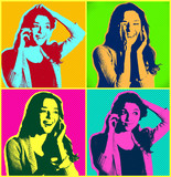 Woman faces with telephone.Popart illustration design over colou