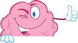 Winking Brain Cartoon Character Holding A Thumb Up Over Sign