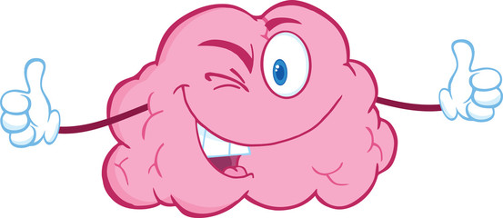 Winking Brain Character Giving A Thumb Up
