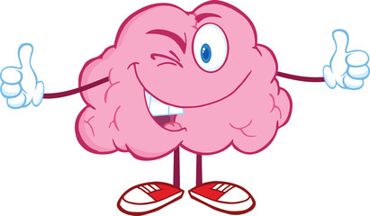 Winking Brain Cartoon Character Giving A Thumb Up