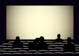 Cinema with silhouettes of people