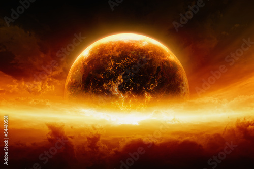 Burning and exploding planet Earth