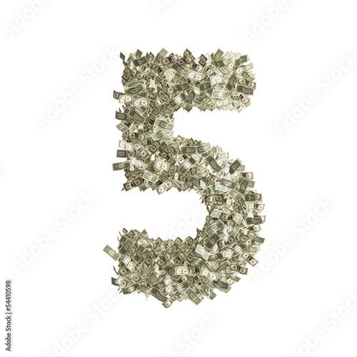 Nummer 5 gebildet aus Dollar Banknoten