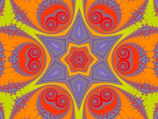 Colored patterned kaleidoslop with fractals