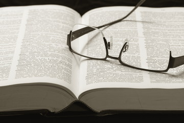 Dictionary and eye-glasses