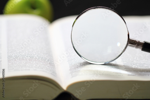 Dictionary and magnifying glass