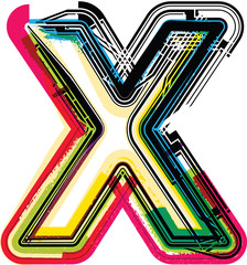 Colorful Grunge LETTER X