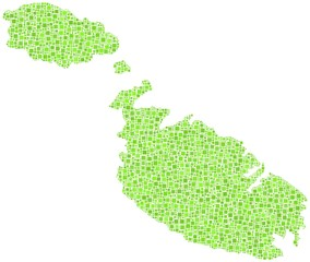 Map of Malta - Europe - in a mosaic of green squares