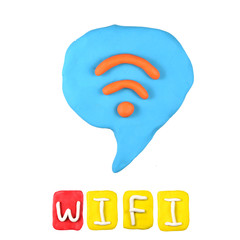Color children's wifi plasticine on a white background