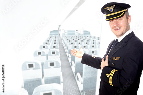 Captain of the aircraft greets passengers