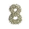 Nummer 8 gebildet aus Dollar Banknoten