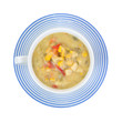 Corn potato red pepper chowder in cup