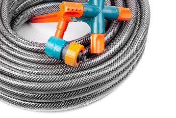 hose for watering and fittings isolated on a white background