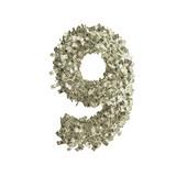 Nummer 9 gebildet aus Dollar Banknoten