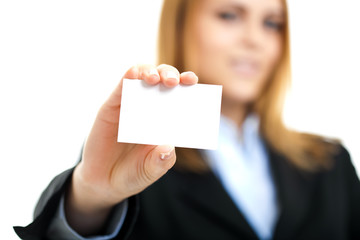 Smiling businesswoman showing a blank card