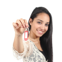 Beautiful casual muslim woman holding a house keys