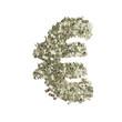 Euro Symbol gebildet aus Dollar Banknoten