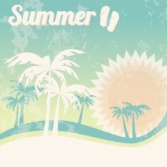 Summer holiday card with grunge background, vector