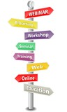 WEBINAR - word cloud - colored road sign  - NEW TOP TREND