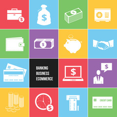 Colorful Business Ecommerce and Banking Money Icons Set