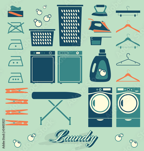 Collection of retro style laundry room symbols and icons