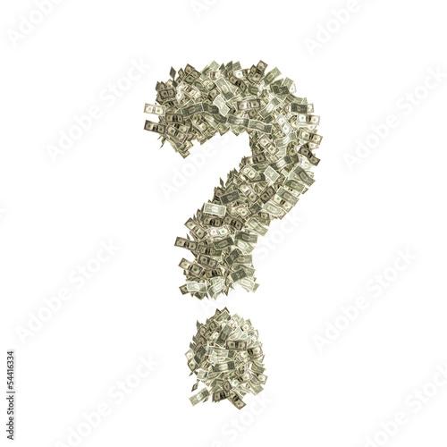 Fragezeichen ? gebildet aus Dollar Banknoten