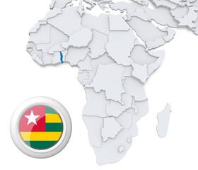 Togo on Africa map