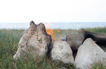 Rustic campfire close up