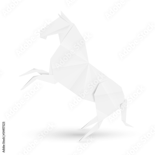 Illustration of horse in origami stile