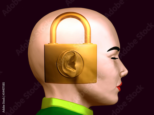 secret carrier, padlock inside a female head