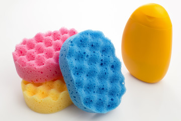 bottle of shower gel and sponges