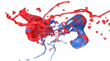 blue and red color splashes collide in slow motion (FULL HD)