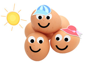 Easter eggs with smiling faces and sunshine isolated