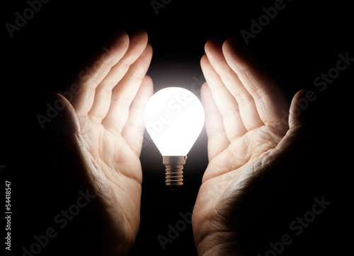 Hands holding light bulb