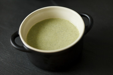 Bowl of cream of broccoli soup