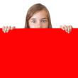 chica con espacio en rojo