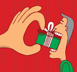 Hand forcing a gift to consumer