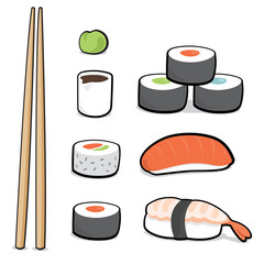 Cartoon sushi set
