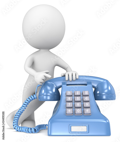 Call.The Dude pointing at a classic telephone. Blue