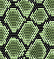 Green seamless snake skin pattern