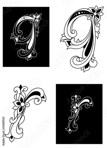 Decorative letters Q and R in floral style