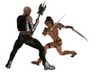 Fantasy female warrior faces goblin