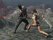 Fantasy female warrior faces goblin in the mountains