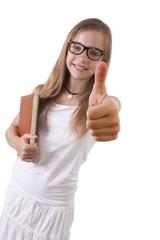joven con la mano del gesto de aprobación