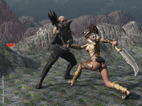 Fantasy female warrior faces goblin in the mountains