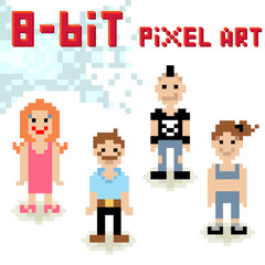 Cute 8-bit pixel character set of casual people