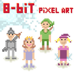 Cute 8-bit pixel character set of fantasy people